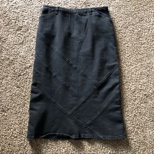Christopher & Banks Black Denim Jean Skirt